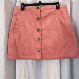 Pink Corduroy Button Skirt